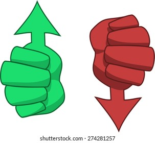 Thumbs up and down arrows