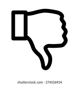 Thumbs down dislike / hate or thumbs down dislike for social networks line art vector icon for apps and websites