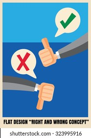 Thumbs up and down Flat icon design illustration