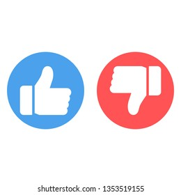 Thumbs up and thumbs down icons. Blue like button, red dislike button.