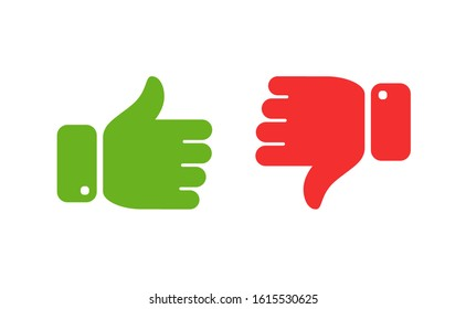 Thumbs up and down icons. Yes, No symbol vector illustration