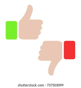 Thumbs up and thumbs down, like and dislike concept. Love, hate, for against, true, false, yes, no. Red and green design. Illustration symbol of hand success or fail. Social icon.