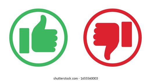 Thumbs up and down like dislike icons for social network