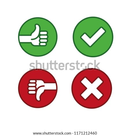 Thumbs Down Like Dislike Symbols Red Stock Vector Royalty Free