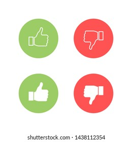 Thumbs up and thumbs down. Like or dislike. Vector illustration line icon.