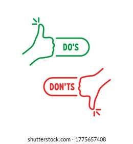 thumbs up and down like dos and donts. linear simple trend modern undecided logotype graphic design element isolated on white background. concept of sure vs unsure or best and worst result or review
