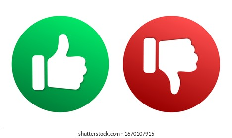 Thumbs up thumbs down red and green isolated vector like dislike social media signs. Recommendation icons, good and bad choice labels. Vote web buttonswith with man hand. Social media like icons.