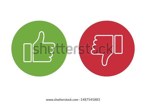 Thumbs up thumbs down red and green isolated vector like social media signs. EPS 10