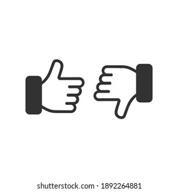 Thumbs up and thumbs down symbol vector