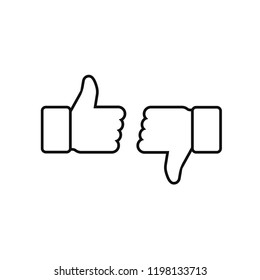 Thumbs up and thumbs down. Vector illustration line icon.