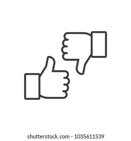 Thumbs up and thumbs down. Vector line icon