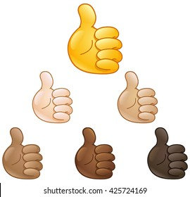 Thumbs up emoji hand set of various skin tones