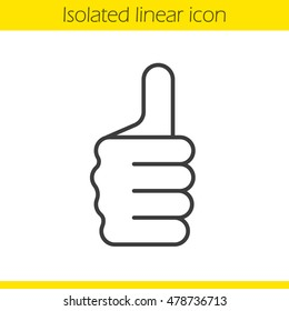 Thumbs up gesture linear icon. Approval and like sign. Thin line illustration. Vector isolated outline drawing