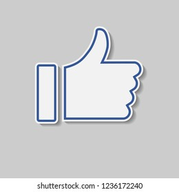 Thumbs Up hand with border and drop shadow, blue social media icon for like or love