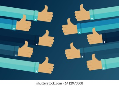 Thumbs up hands. Business compliment concept. Flat vector illustration
