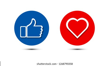 Thumbs up and heart icon in blue red circle isolated  on a white background. facebook, facebook icon, social media icon, empathetic emoji reactions icon. vector illustration