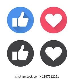 Thumbs up and heart icon in a flat design. Vector illustration.