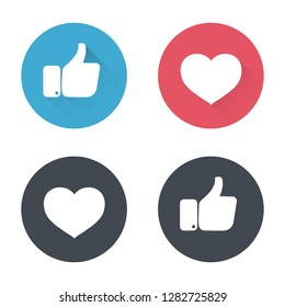 Thumbs up and heart icon in a flat design. New like and love icons of Empathetic. social media icon