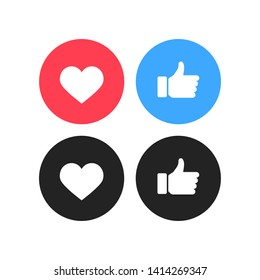 Thumbs up and heart icon on a white background. Instagram and Facebook. Vector illustration.
