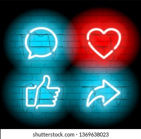 Thumbs up and heart icon with repost and comment neon signs icons on a dark brick wall background.