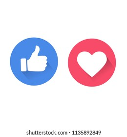 Thumbs up and heart icon. social media icon, empathetic emoji reactions, with drop shadow vector illustration