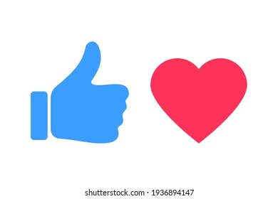 Thumbs and heart icon. Vector love and love icon. Like and like buttons ready for websites and mobile apps. Vector illustration.