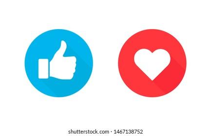 Thumbs up and heart, social media icon, empathetic emoji reactions. Vector Illustration. EPS 10