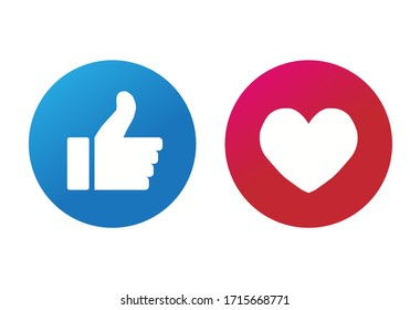 Thumbs up and hearts isolated on a white background. Vector illustration.