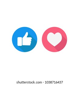 Thumbs up and hearts vector illustration
