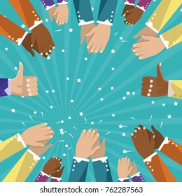 Thumbs up and human hands clapping isolated on turquoise background. Thumb up flat hand for social network, blog and app. Party celebration concept, modern design