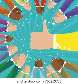Thumbs up and human hands clapping isolated on blue background. Cloose-up thumb up flat hand for social network, blog and app. Party celebration concept, modern design