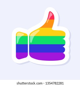 Thumbs Up Icon. LGBTQ+ related symbol in rainbow colors. Gay Pride.  Raibow Community Pride Month. Love, Freedom, Support, Peace Symbol. Flat Vector Design Isolated on White Background