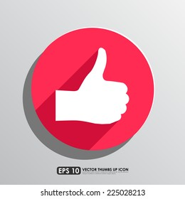 Thumbs up icon in red circle background