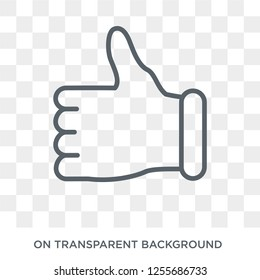 Thumbs up icon. Trendy flat vector Thumbs up icon on transparent background from Hands and guestures collection. High quality filled Thumbs up symbol use for web and mobile