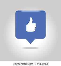 Thumbs up icon. Vector like icon. Social network vector icon.