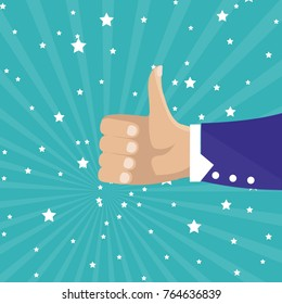 Thumbs up isolated on blue background. Close-up of thumb up flat hand for social network, blog and app. Party celebration concept, modern design