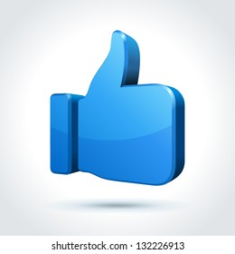 Thumbs up or like button. Vector illustration.