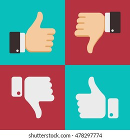 Thumbs up like dislike icons for social network web app like. Symbol hand with thumb up. Vector illustration