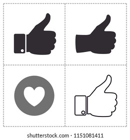 thumbs up and like flat icon vector. hand silhouette black flat  and line.