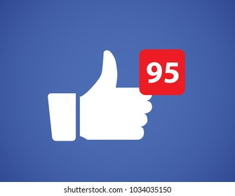 Thumbs up like social network icon. New likes number appreciation online. Web blogging concept.