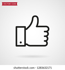 Thumbs up line icon. Hand showing Like sign. Vector outline symbol.