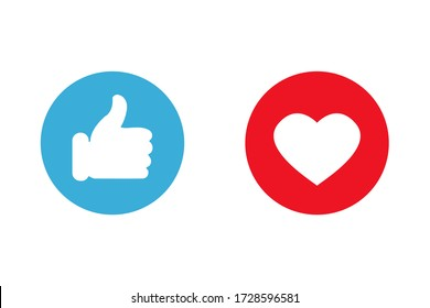 Thumbs up and love icons. Icons for social communication app. Like signs. Simple vector illustration.