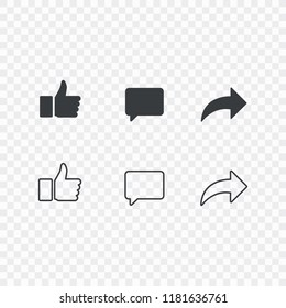 Thumbs up and with repost and comment icons on a white background. Social media icon, empathetic emoji reactions icon set.