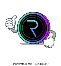 Thumbs up request network coin character cartoon