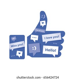 Thumbs up social networking symbol with chat messages into it. Idea - blogging and online messaging.
