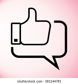 Thumbs up in the speech bubble icon. Web communicate, thumbs up symbol.