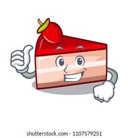 Thumbs up strawberry cake character cartoon