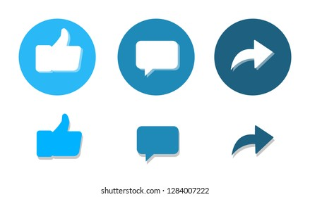 Thumbs up, comments and repost - icons of social networks.
