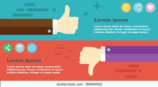 thumbs up, thumbs down banner, vector illustration
