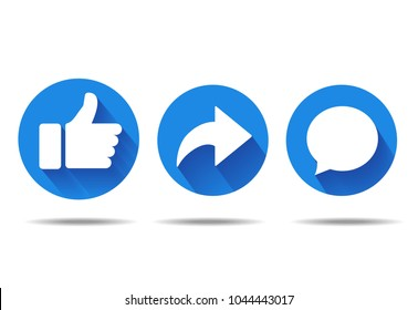 Thumbs up, repost and comment icons on a white background. Social media icon, empathetic emoji reactions